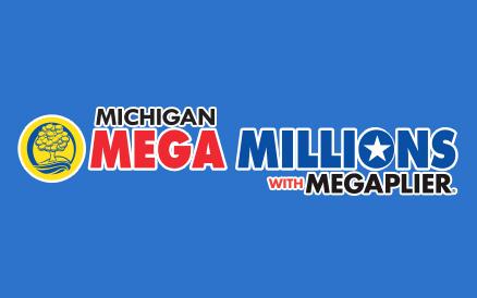 Michigan Megaplier Mega Millions logo on blue background