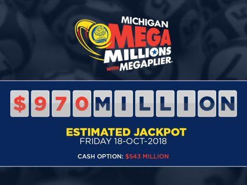 Mega Millions logo and the estimated $970 Million jackpot