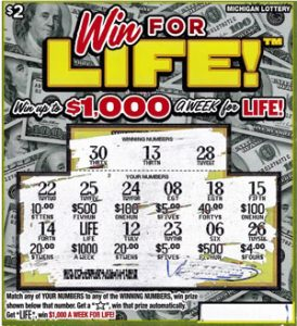 Winning Ticket - Anonymous Wayne County Man Wins $1,000 A Week For Life Playing MI Lottery's Win For Life Instant Game