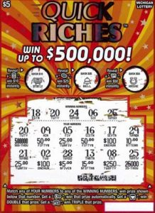 winning-ticket - Bay County Man Wins half a million dollars Playing MI Lottery's Quick Riches