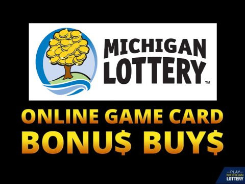 Michigan Lottery money tree logo and font with yellow online game card bonus buys.