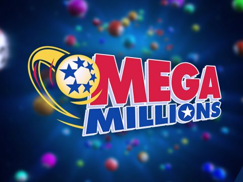 Mega Millions results logo on blurred powerball background