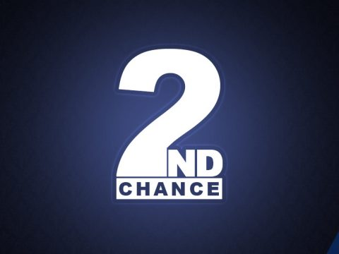 Second Chance Games logo in white on a navy background