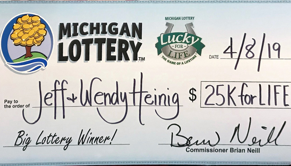 Jeff Heinig's Lucky for Life cheque