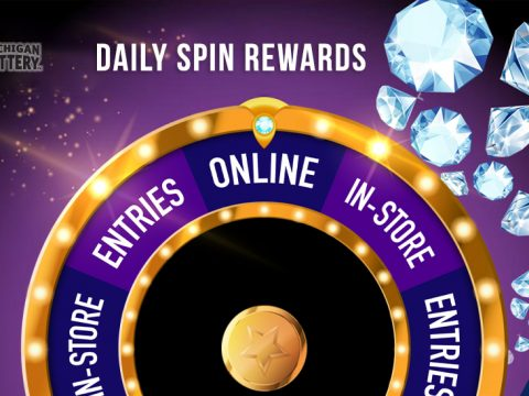 Daily Spin Rewards wheel with diamonds and Michigan Lottery logo on purple background