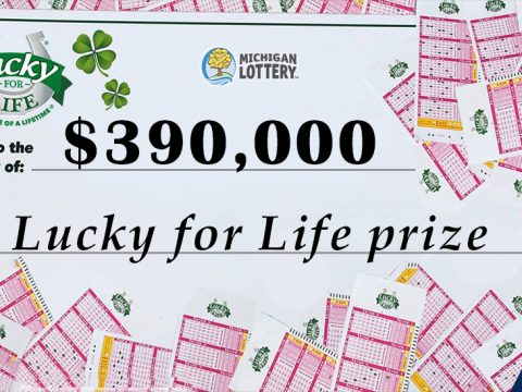 Lucky for Life prize cheaque for $390,000 from the Michigan Lottery