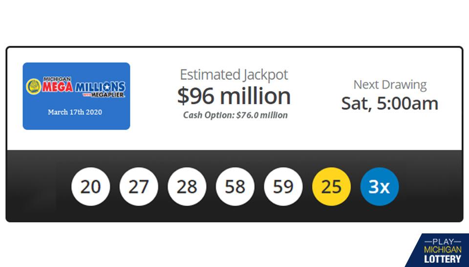 Jackpot Winning Numbers Mega Millions March 17th 2020 Playmichiganlottery Com