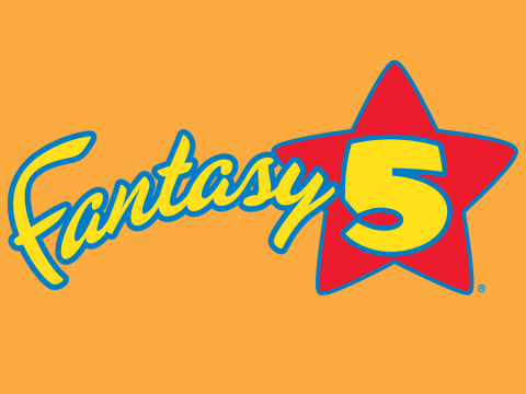 Fantasty 5 game logo on orange background